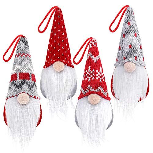 D-FantiX GNOME Christmas Ornaments Set of 4, Handmade Swedish Tomte Gnomes Peluche Scandinavo Babbo Natale Elfo Ornamenti da tavola Albero di Natale Decorazione da Appendere Decorazioni per la casa