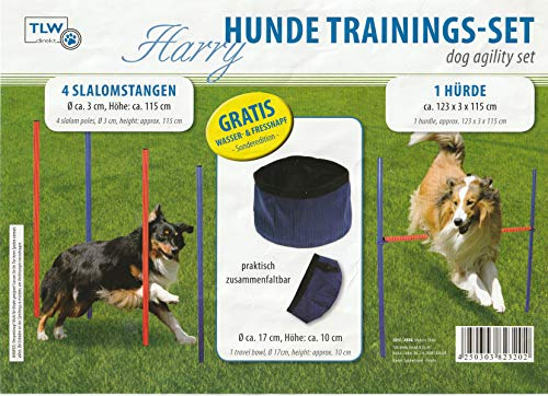 TLW direkt Hundetrainingsset Agility Set mit Hürde Slalomstangen Futternapf Fressnapf Wassernapf + Tragetasche