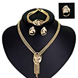 Finemall 18K Gold Plated Shinning Wide Necklace Crystal Jewelry Sets Necklace Earrings Bracelet Ring African Costume Necklace Set Party Fashion Women Dubai Gold Plated Jewelry Sets