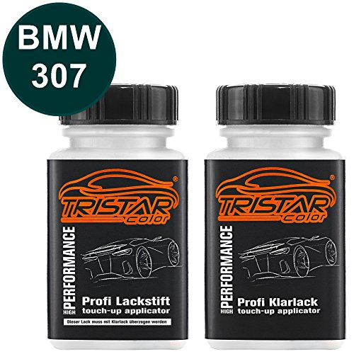 TRISTARcolor Autolack Lackstift Set für BMW 307 Dunkelgrün II Basislack Klarlack je 50ml