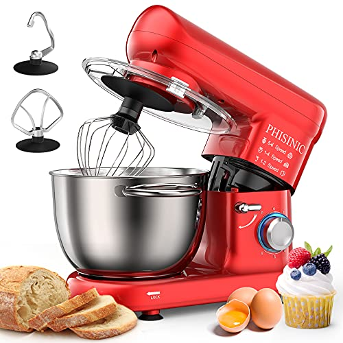 PHISINIC Stand Mixer, 5.8-QT 660W Household Stand Mixer, Tilt-Head Food & Dough Mixer, 6-Speed Kitchen Electric Mixers with Dough Hook, Wire Whip and Beater, for Baking, Cake, Cookie, Kneading (Red)