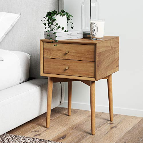 Nathan James Harper Mid-Century Oak Wood Nightstand with 2-Drawers, Small Side End Table with Storage, Brown