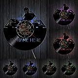 MASERTT personalità Personalizzato Nome DJ Disco in Vinile Orologio da Parete Design Moderno Decorazioni per la casa Club Music Party Hanging Decor per DJ Miglior Regalo-con LED