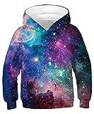 ALISISTER FelpaBambino Ragazzi Ragazze 3D Galassia Felpe con Cappuccio Pullover Maniche Lunghe Hoodie Sweatshirt Tasche Teen Shirts S