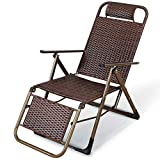 YVX Garden Chairs Recliners Brown Wicker Handmade Chairs Rattan Recliner Folding Chair In Weatherproof For Patio Or Beach, Balcony, Park Or Campsite c2023 (Color : Brown)