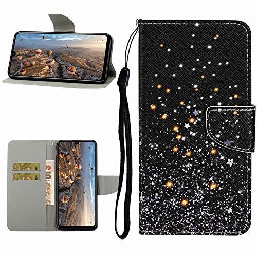 Miagon Hülle für Samsung Galaxy A41,Handyhülle PU Leder Brieftasche Schutz Flip Case Wallet Cover Klapphüllen Tasche Etui mit Kartenfächern Stand,Star