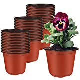 Augshy 130 Packs 6 Inches Plastic Plant Nursery Pots, Seed Starting Pot Flower Container for Succulents, Seedlings, Cuttings, Transplanting, Planter Home Docer.