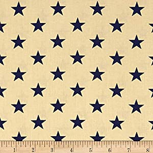 Santee Print Works Patriotic 108'' Quilt Backs Stars Fabric, Navy/Antique, Fabric By The Yard