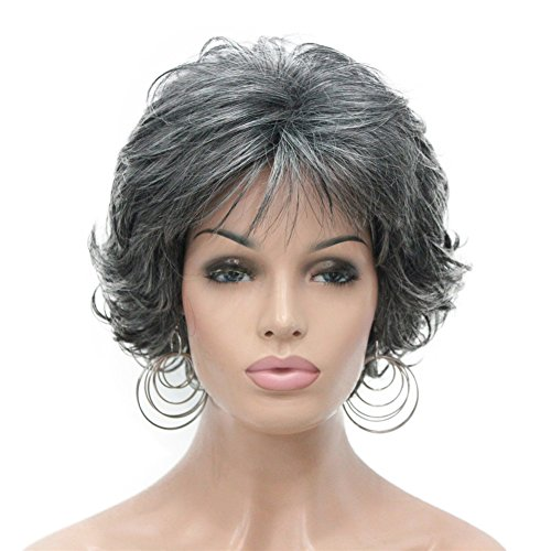 Aimole Short Curly Synthetic Wigs Full Capless Hair Women's Thick Wig for Everyday Grey Hair Wigs