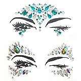 xinlie - pietre decorative adesive per viso, con strass, 2 pezzi