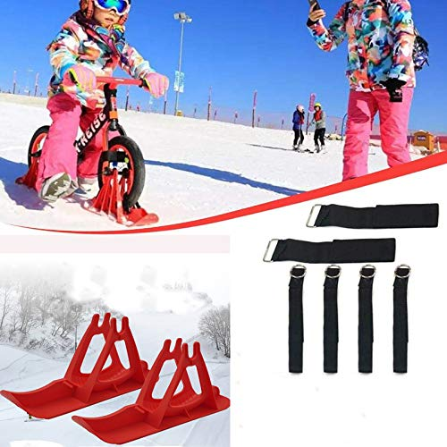 2Pcs Snow Ski Ski Set, 8-14 Pulgadas Bicicleta De Equilibrio para Niños, Skis Kids Snowboard Sled Ski Board Balance Bike Scooter Piezas De Ruedas,Rojo