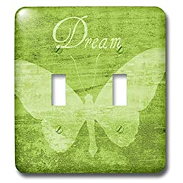 green girls bedroom butterfly dream double light switch cover