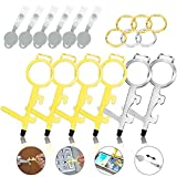 No-Touch Door Opener Tool Kit, Contactless Brass Clean Key for Button Pusher & Screen Stylus with Keychain and Telescopic Rope, Keep Hands Clean at Outdoor Public (6 Pack)