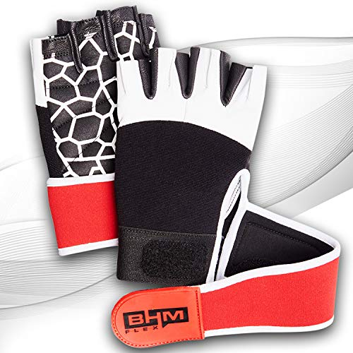 Workout Gloves - Women/Men Lightweight Leather Gloves - Sports/Gym/Weightlifting/Cycling/Exercise/Training/ Wrist Wraps Glove - Support Equipment Full Palm Protection Power Grips… (White, Medium)