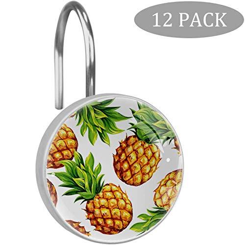 SENNSEE Tropische Sommer Obst Ananas Duschvorhang Haken Edelstahl dekorative Duschvorhangringe für Badezimmer rostfrei 12er Pack Kristallglas
