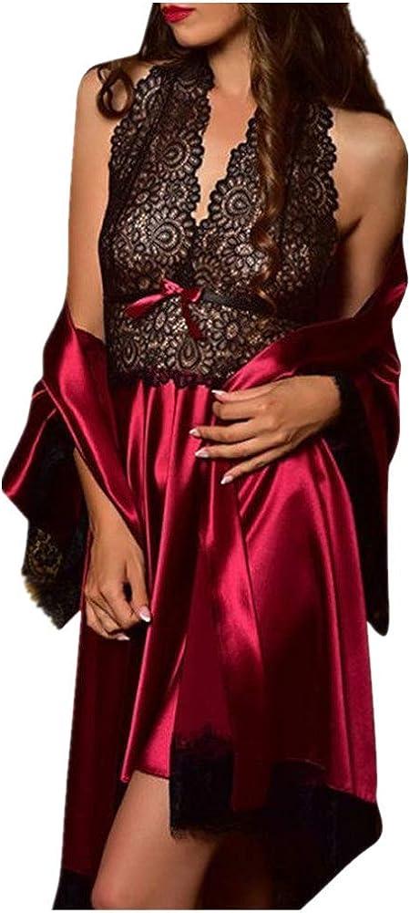 NREALY PJ Womens 2pcs Sexy Satin Lace Sleepwear Babydoll Lingerie Nightdress Pajamas Set