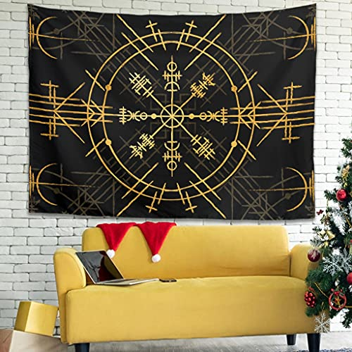 Goulagou Viking Celtic Runes Tapestry Hippie Bohemian Tapestry Wall Hanging Tapestries Beach Blanket Wall Art for Living Room Bedroom Home Dorm White 91x59 inch