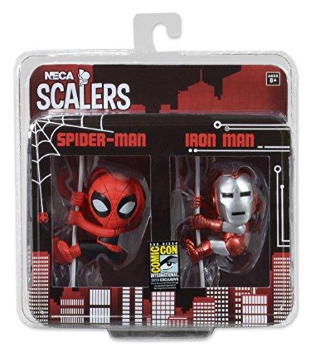 NECA San Diego Comicon Exclusive Ironman et Spiderman Scalers Action Figure (Lot de 2, Multicolore)