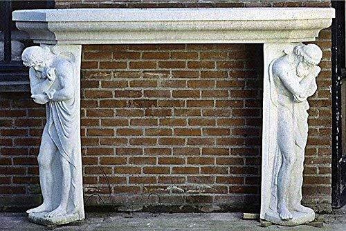 pompidu-living Kamin, Kaminumrandung, Steinkamin, Fireplace Farbe Sandstein