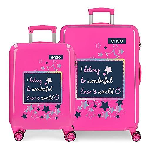 Enso Make a Wish Juego de Maletas Rosa 55/68 cms Rígida ABS Cierre de combinación Lateral 104 6 kgs 4 Ruedas Dobles Equipaje de Mano