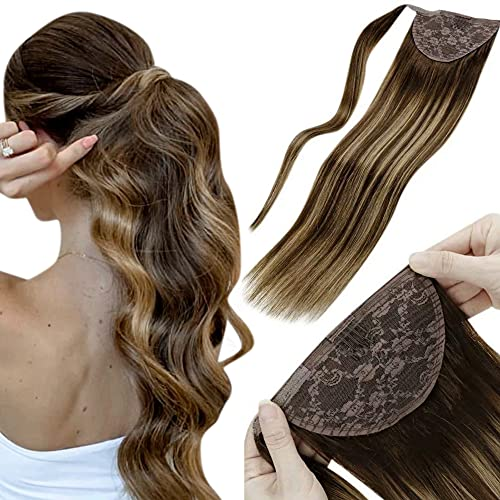 LaaVoo 12 Pollici/30cm Real Human Hair Wrap Around Ponytail Hair Extension Easy Fit Capelli Lisci Coda di Cavallo Balayage Marrone Scuro e Bionda Caramellata 80 Grammi