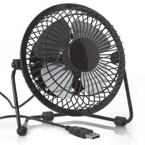 NorbertBerkeley Ventilatore USB per L'Ufficio/Desktop, Basso Rumore, 2 velocità, Rotazione di 360 Gradi, Facile da Portare in Giro, Nero by