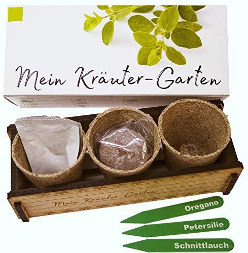 Mein Kräuter-Garten - Ein originelles Geschenk für jeden Anlass. «Oregano», «Schnittlauch» und «Petersilie» zum Züchten. Ideales Pflanzset als Geschenk zu Weihnachten, Geburtstag oder Ostern