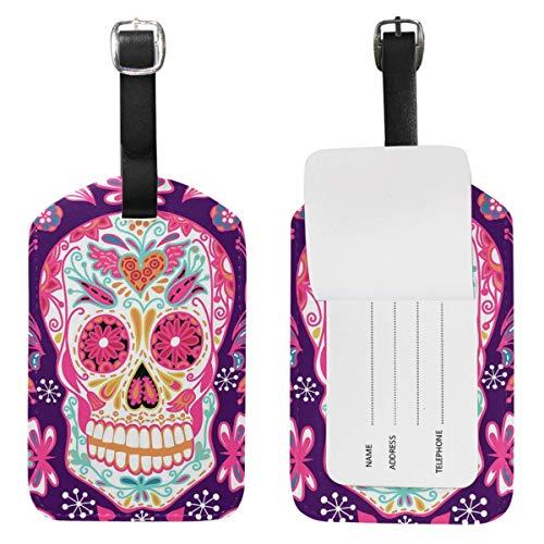 Etiquetas de equipaje con diseño de calavera, de lirio, de cuero, para bolsa de viaje, para maleta, identificación,