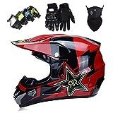 Cascos Integrales Infantil Brillante negro rojo con Guantes Gafas Máscara, Aprobado DOT Conjunto Casco Motocross Motocicleta Adultos Casco protector Offroad Dirt Bike