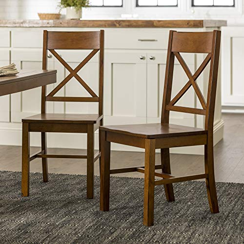 Walker Edison Solid Wood Farmhouse Dining Chairs X-Back Armless Kitchen Chairs, Set of 2 -Brown (CHW2AB)