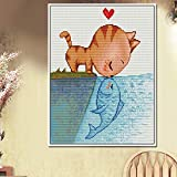 xinyouzhihi 5D Diamant Malerei Kits Vollbohrmaschine Cartoon Katze küsst Fisch 40x50cm Kein Rahmen DIY Erwachsene Diamond Painting zubehör Hauptdekoration