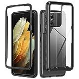 Schwarz Handyhülle für Samsung Galaxy S21 Ultra, Leichte Hülle | Robustes Material | Durchsichtig Bodenabdeckung | Stoßfest | Anti-Rutsch-Behandlung | Doppelter Schutz | Supports für Kabelloses Laden