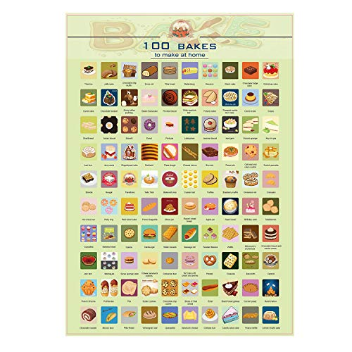 100 List Scratch Bakes Baking Poster Deliciou Dessert Food Posters Wall Hanging Decorative Poster 100 Things to do Scratch off Poster