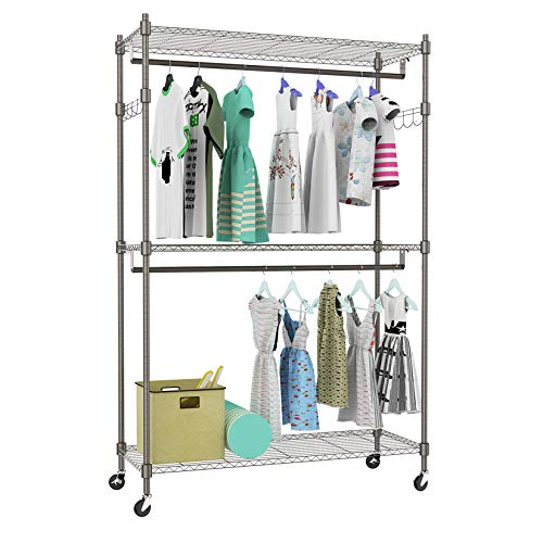 Kemanner Heavy Duty Rolling Garment Rack 3-Tiers Wire Shelving W/ Double Rods & Lockable Wheels & 1 Pair Side Hooks - Hold Up to 400Lbs (Gray, 2Rod 2Hook)