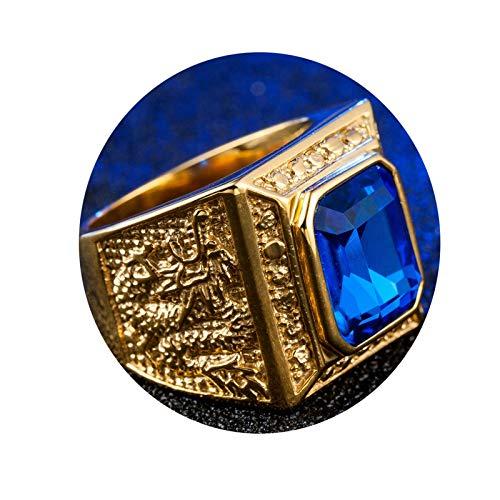 AmDxD Anillo Acero Inoxidable Azul Oro Dragón Anillo con Cushion Zirconia Cúbica Anillos De Compromiso Vintage 19MM Anchura Tamaño 27