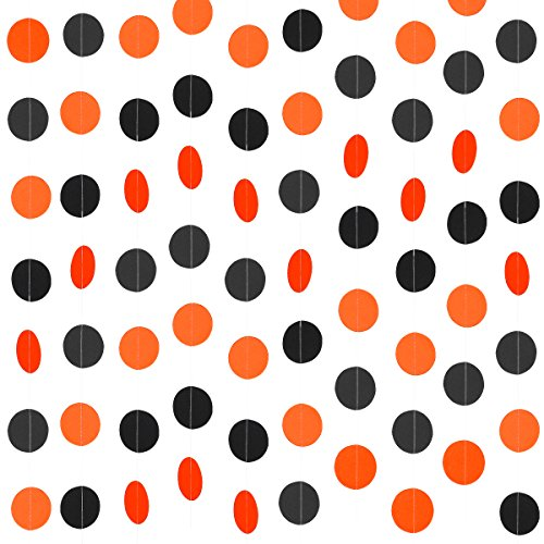 3Pcs Orange & Black Circle Dots Garland -Halloween Party Decoration Supplies (75pcs Circle Dots)