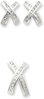 Sterling Silver Polished Hidden bail Post Earrings Rhodium-plated Cubic Zirconia X Earrings and Pendant Set
