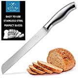 Zulay Serrated Bread Knife 8 inch - Ultra-Sharp & Durable Blade For Easy Slicing - Lightweight 304...