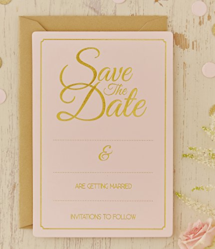 Ginger Ray Pastel & Gold Foiled Save The Date Wedding Cards/Invitations (10 Pack), Pink