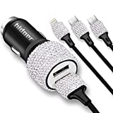 Bling USB Car Charger 5V/2.1A White Crystal Decoration Dual Port Fast Adapter with 3.9ft Nylon Type C/Micro USB 3-in-1 Multi Charging Cable for iPhone iPad Android, Car Interior Accessories for Women
