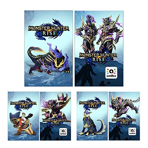 3Pcs Monster Hunter Rise Cards, Include: Palico, Palamute and Magnamalo, Compatible with Switch and Switch Lite