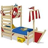WICKEY Lit en bois CrAzY Bounty Lit enfant 90x200 Lit de jeu pour enfants en forme de bateaux avec sommiers à lattes,...