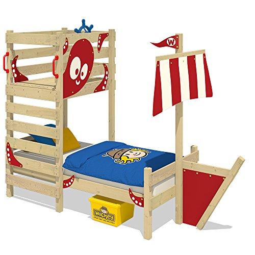 WICKEY Cama de aventuras CrAzY Bounty Cama infantil 90x200 Cama para jugar para niños con somier de madera, jugar pedestal y construcción del barco, rojo