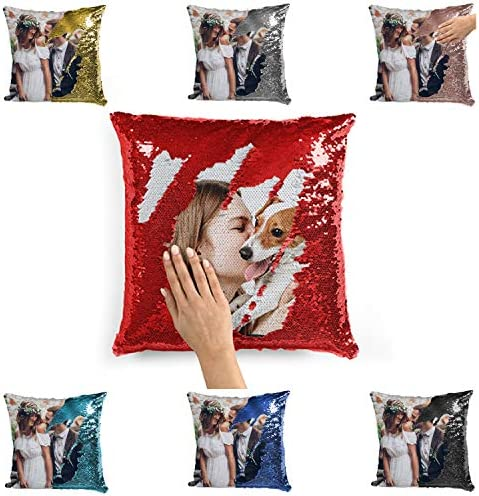 Custom Photo Sequin Pillow Cases Red Mermaid Sequin Pillow Case w Picture and Text Mermaid Reversible product image