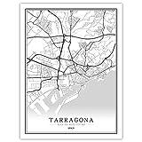 SKLHSIL Impresión De Lienzo, España Tarragona Mapa Ciudad Simple Negro Blanco Wall Arte Moderno Póster Imagen Mural Pintura Oficina Sala Estar Hogar Dormitorio Espacio Decoración 30X40