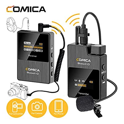 COMICA BoomX-D D1 2.4G Wireless Microphone Lavalier Lapel Mic System with External Microphone and LCD Display, Support Real-time Audio Monitoring(D1=TX+RX)