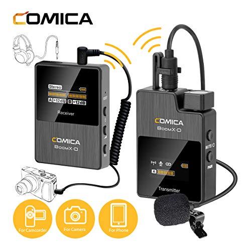 Comica Lavalier Funkmikrofon BoomX-D D1, Kabellos Ansteckmikrofon System, 2.4G Wireless Microphone, 50m Reichweite, Interner/Externer Eingang, Audioüberwachung für Interview Kamera DSLR Smartphone