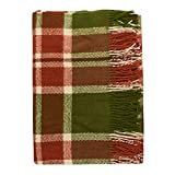 Cozy Blankets 100% New Zealand Wool Blanket Watermelon Sugar, Green and Red, Large Queen Size, Perfect for Home and Outdoors