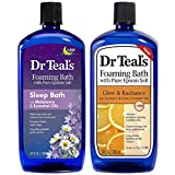 Dr Teal's Foaming Bath Combo Pack (68 fl oz Total), Melatonin Sleep Soak, and Glow & Radiance with Vitamin C and Citrus Essential Oils