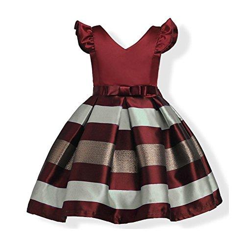 WeeH Girl Dress Gown Party Wedding Ruffles Dresses Ring Bearer Princess Dress Raspberry 2-3